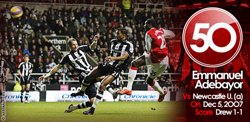 GGG50: Adebayor v Newcastle United, 2007