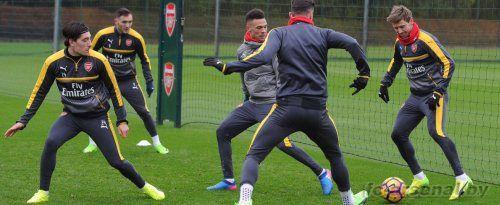 Тренировка перед матчем против Ливерпуля