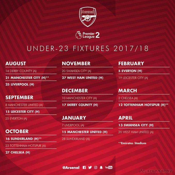 """U23: Стал известен календарь """"Арсенала"""" в Премьер Лиге 2 на сезон 2017/18"""