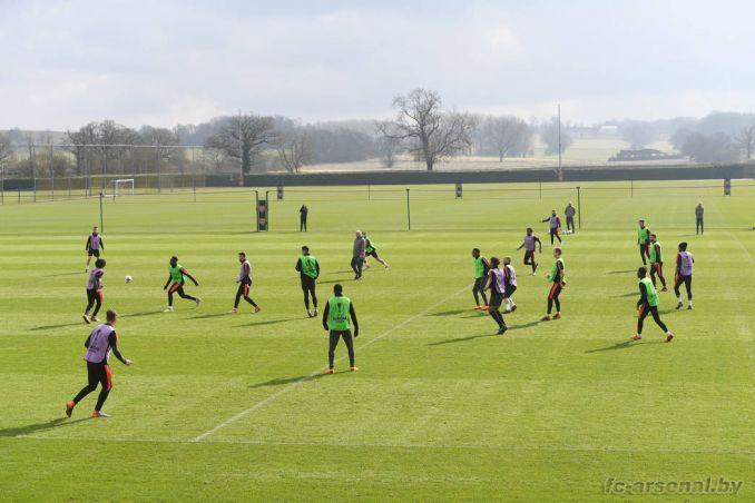 Тренировка перед матчем с Миланом